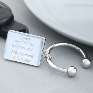 Personalised Silver Rectangle Keyring