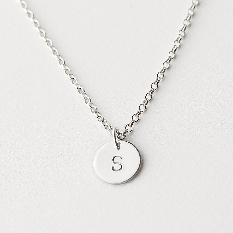 Personalised initial disc necklace by minetta jewellery personalised sterling silver initial disc necklace mozeypictures Choice Image