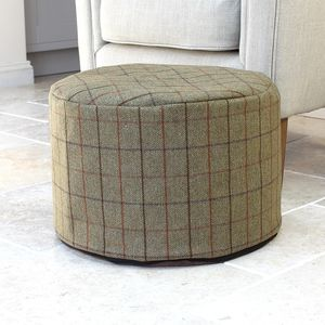 Green Check Wool Foot Pouffe - footstools & pouffes