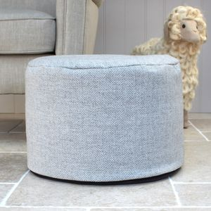 Grey Herringbone Wool Foot Pouffe - footstools & pouffes