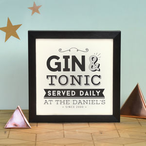 Personalised Gin Served Daily Light Box