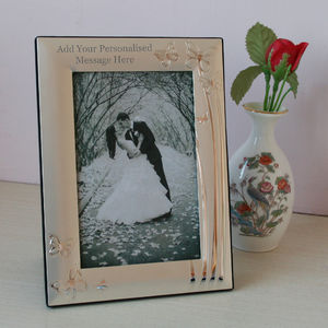 Personalised Silver Photo Frame With Butterflies - picture frames