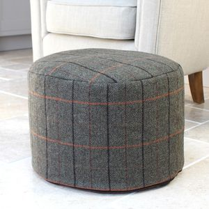 Charcoal Check Wool Foot Pouffe - footstools & pouffes