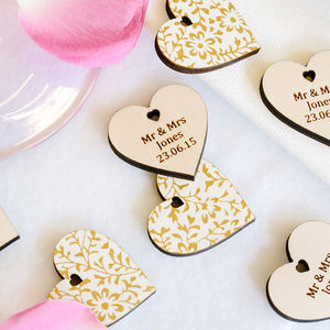Personalised Wedding Favour Hearts - mint, blush & gold