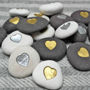 Metallic Heart Pebble
