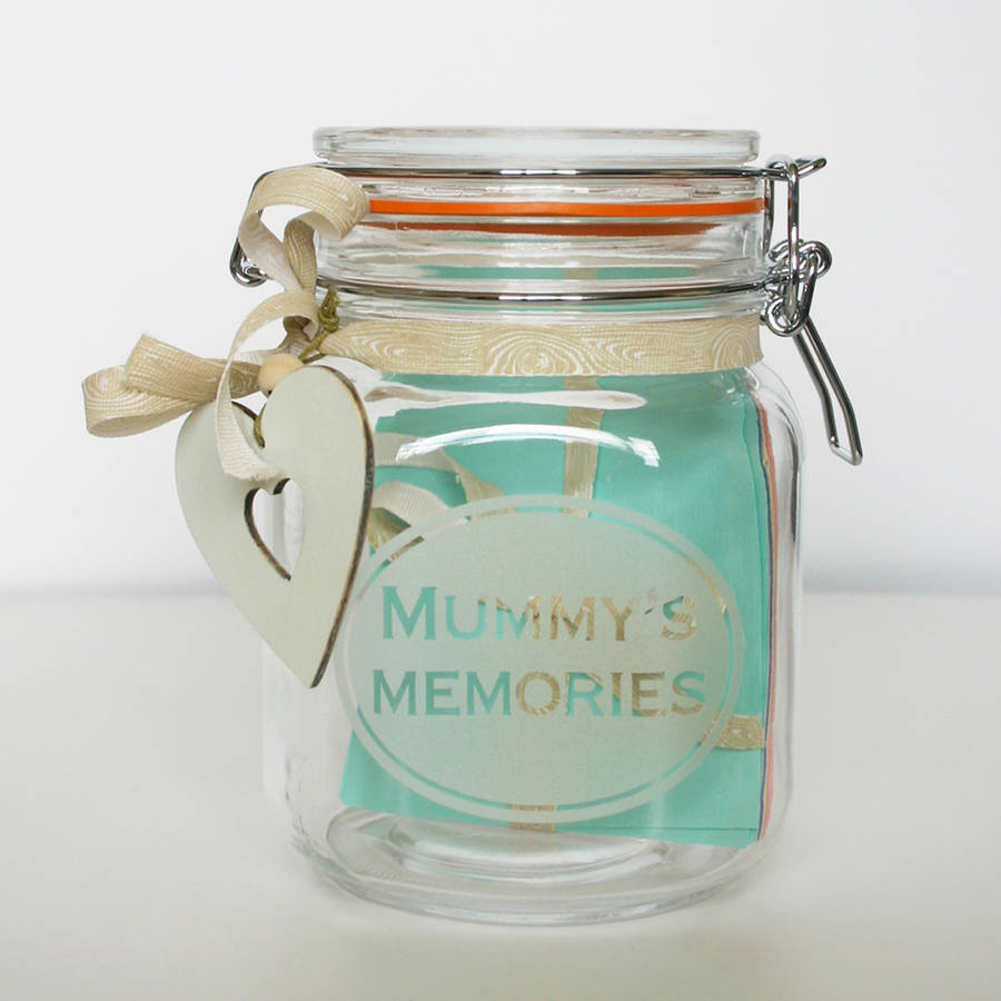 personalised memory jar by the bright blue pig. Black Bedroom Furniture Sets. Home Design Ideas