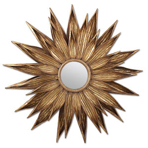 Antiqued Gold Sunflower Wall Mirror - home accessories