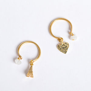 Adjustable Gold Charm Ring
