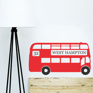 Personalised Retro London Bus Wall Sticker - wall stickers