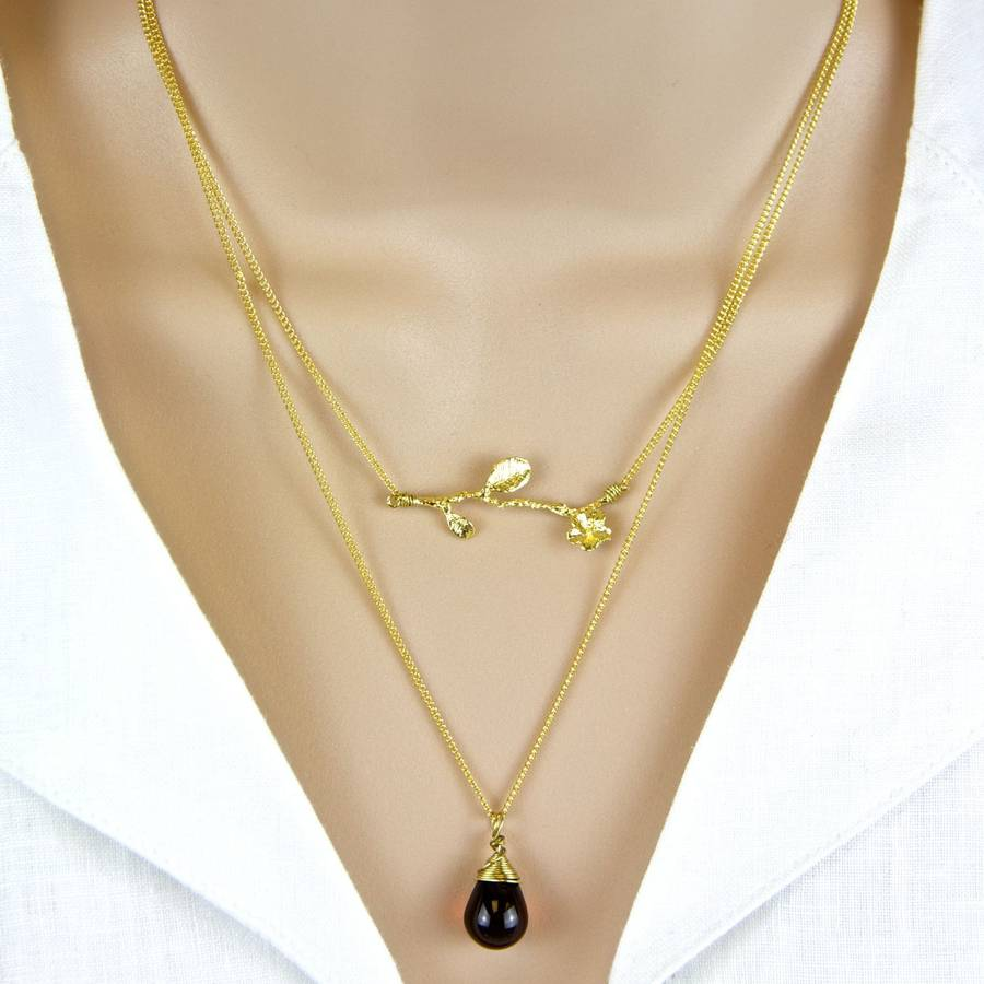 Branch And Wrapped Teardrop Layered Necklace