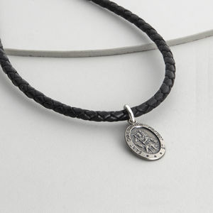 Personalised Sterling Silver St Christopher Necklet - men's jewellery