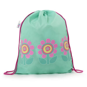Child's Colour Changing Green Flower Drawstring Bag