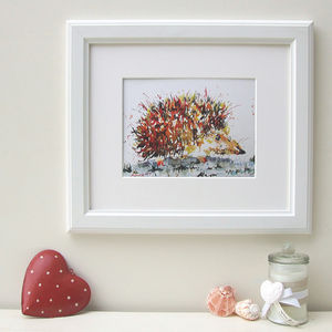 Happy Hedgehog Watercolour Print - children's pictures & paintings