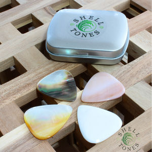 Shell Tones Guitar Plectrums In A Gift Tin