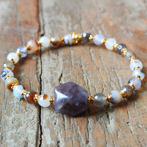 Amethyst And Agate Bracelet