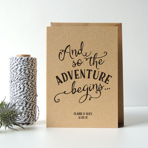 Personalised 'Adventure' Wedding Card - engagement cards