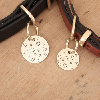 Personalised Heart Brass Dog ID Tag