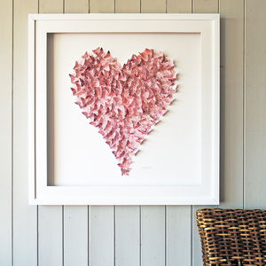 Framed 3D Vintage Pink Heart - art & pictures
