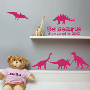 Personalised Dinosaur Wall And Door Sticker Set - prints & art sale