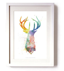 Stags Head Splash Limited Edition Signed Print - modern & abstract