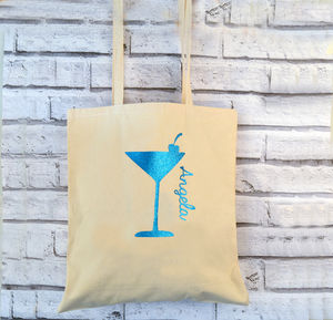 Cocktail Glitter Personalised Tote Bag - shoulder bags