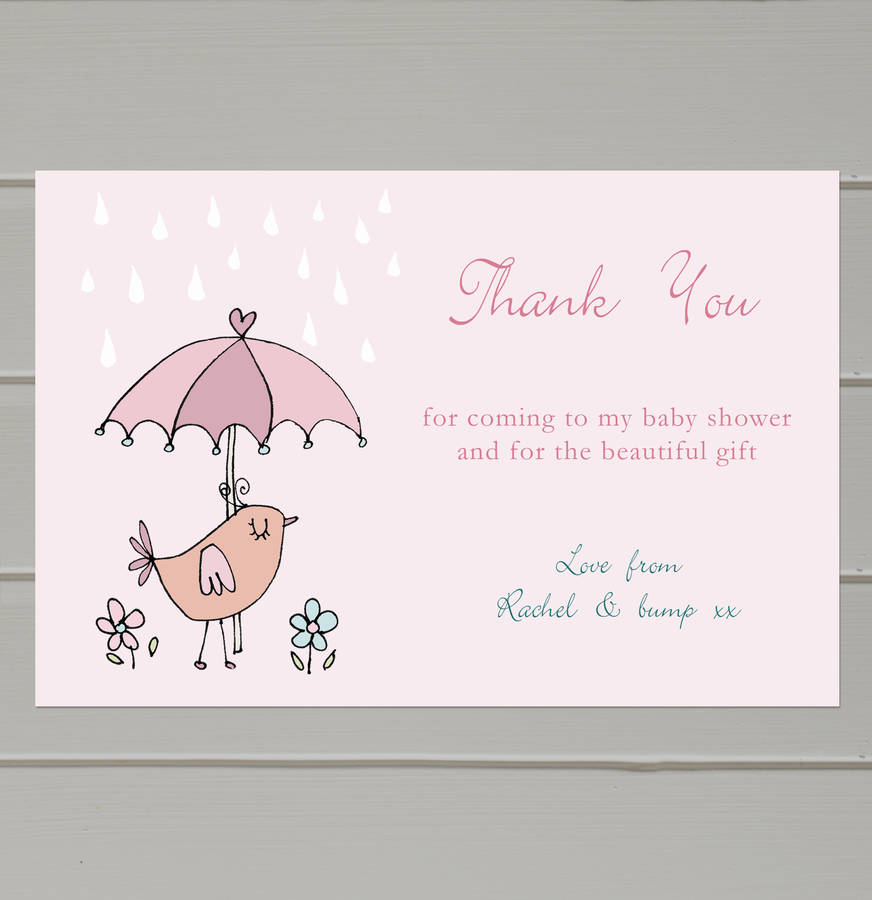 personalised baby shower thank you cards by molly moo designs
