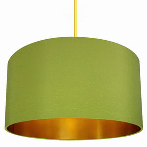 Gold Lined Handmade Lampshade In Chartreuse - bedroom