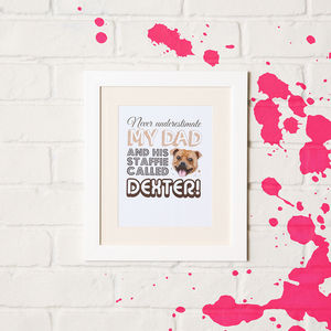 Personalised Daddy And His Dog Framed Print