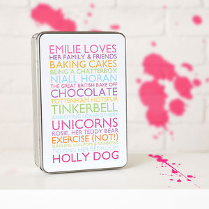 Personalised Loves List Tin - tins, jars & bottles