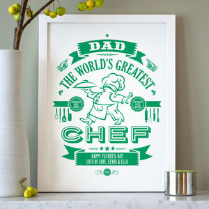 Personalised Typographic Chef Print