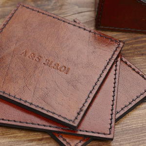 Leather Coasters Set Of Six