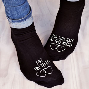 'You Make My Toes Wiggle' Anniversary Socks - 2nd anniversary: cotton