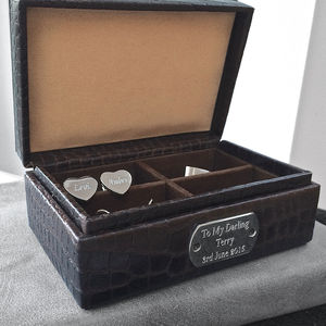 Personalised Leather And Sterling Silver Cufflink Box - cufflink boxes & coin trays