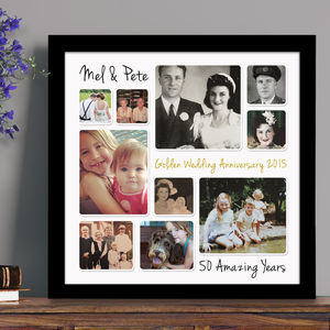 Personalised Golden Wedding Anniversary Photo Collage - canvas prints & art