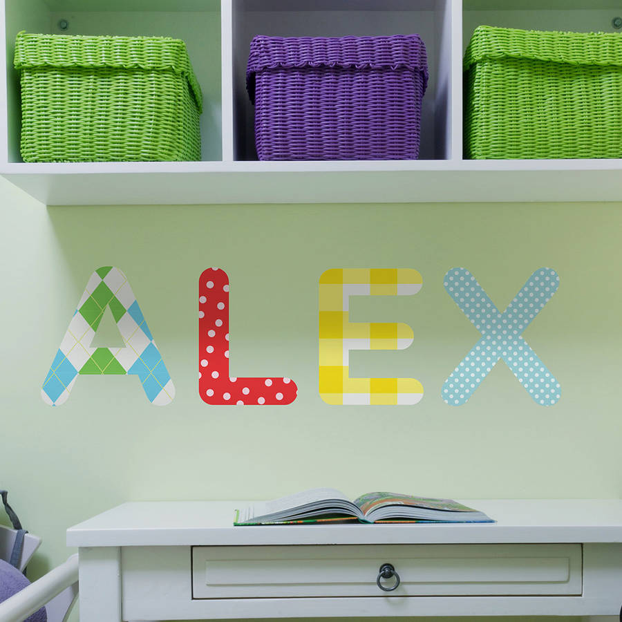 personalised childrens name wall stickers by the binary personalised childrens name wall stickers by the binary