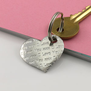 Love Message Pocket Heart Keyring