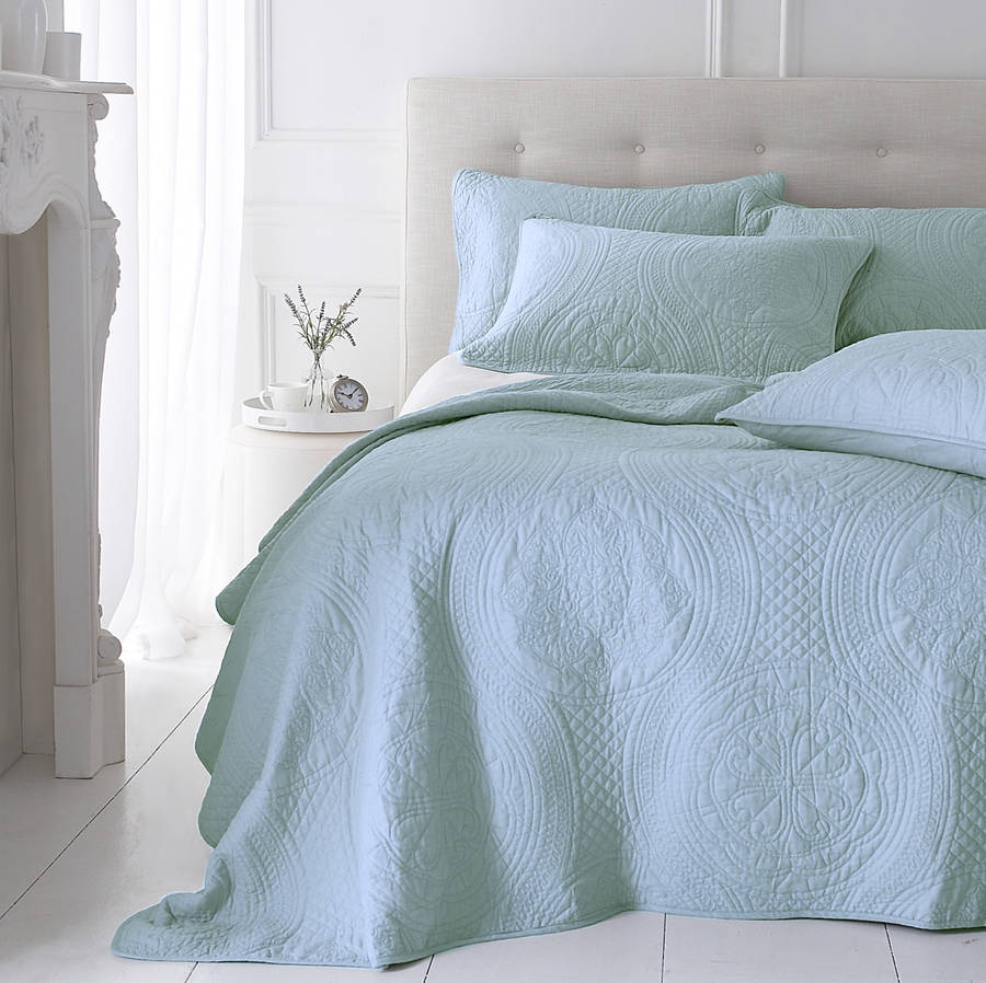 Bedspread Duck Egg Blue: Soft Duck Egg Grey Quilted Bedspread By Marquis & Dawe