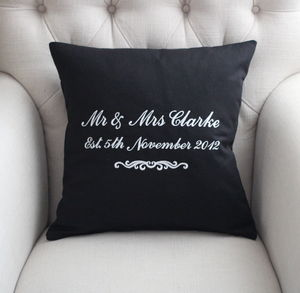 Personalised Mr And Mrs Cushion - living room