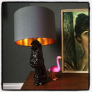 Gold Lined Handmade Lampshade In Slate Grey