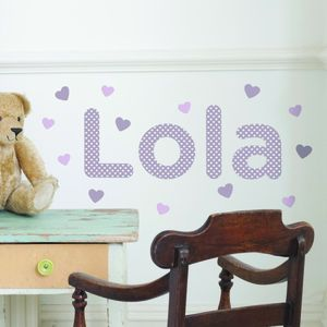 Personalised Hearts Polka Dot Childs Name Wall Sticker