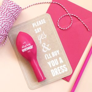 'I'll Buy You A Dress' Bridesmaids Card - hen party styling