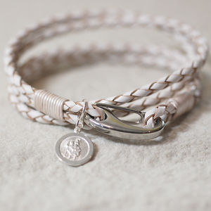 White Leather St Christopher Wristband - bracelets & bangles