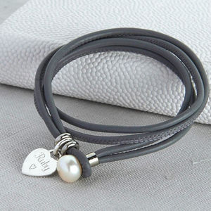 Personalised Silver And Leather Pearl Clasp Bracelet
