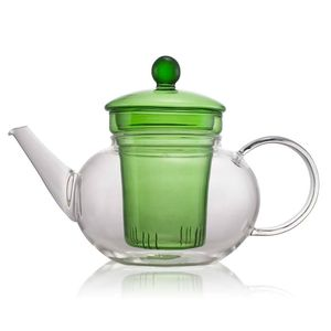 Classic Green Glass Teapot 600ml With Filter