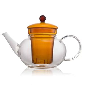 Classic Orange Glass Teapot 600ml With Glass Filter