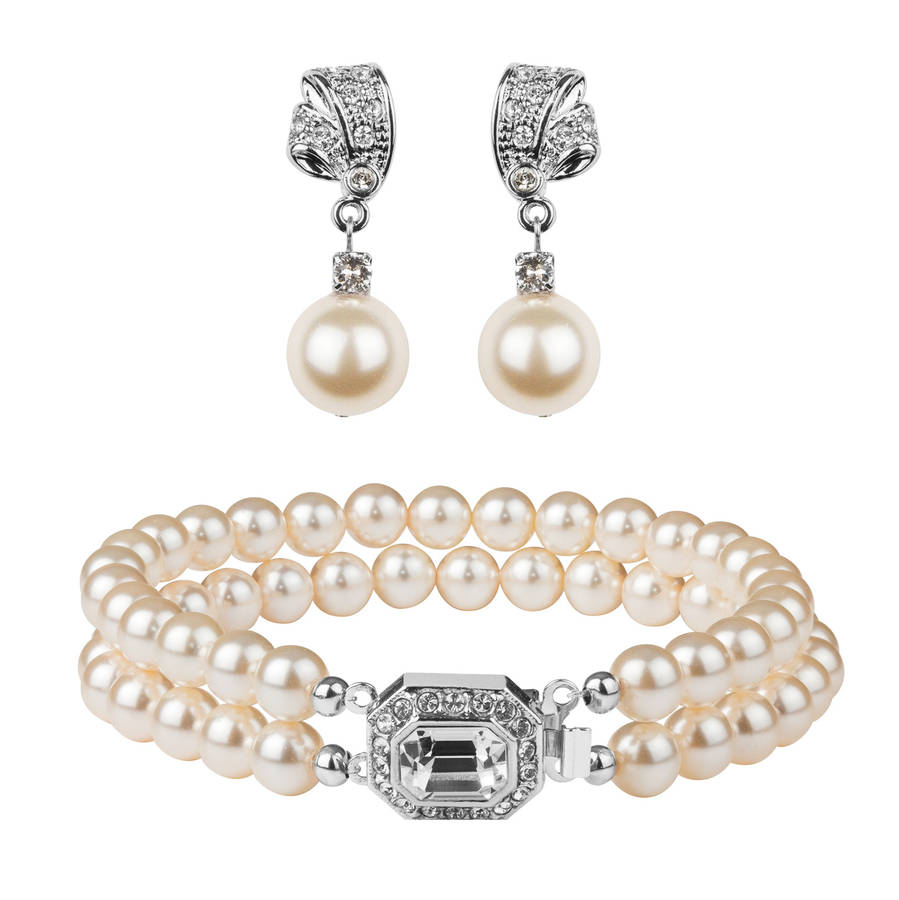 Rhinestone And Pearl Earring Bracelet Set
