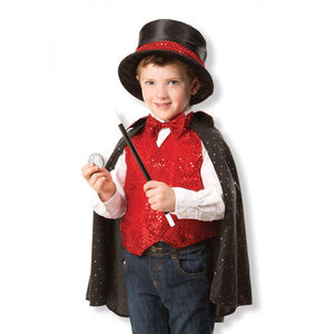 Magician Dressing Up Outfit With Accessories