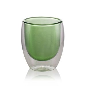 Green Double Wall Glass Cup 80ml