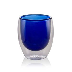 Blue Double Wall Blown Glass Cup 80ml