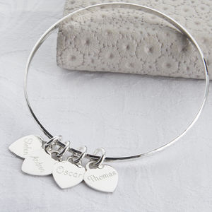 Personalised Sterling Silver Loved Ones Heart Bangle - gifts under £50 for her